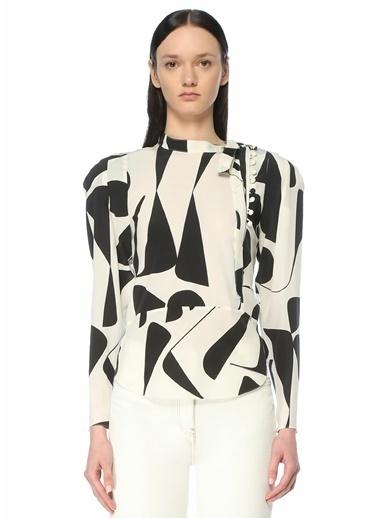 Etoile Isabel Marant Isabel Marant   Dik Yaka Desenli İpek Bluz 101623707 Siyah